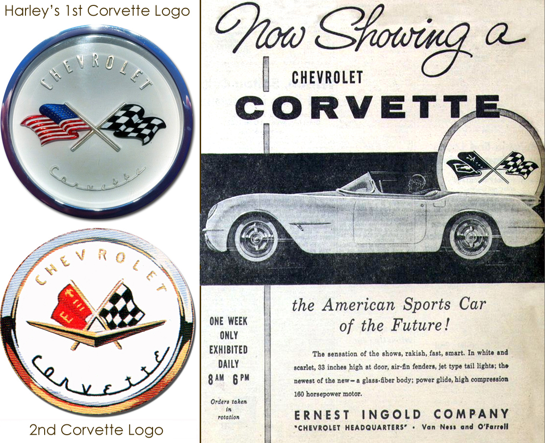 """When interviewed, Chevrolet car designer, Robert (Bob) Caderat said,  """"We believed the 'E' stood for Earl, but Harley said the 'E'  (notice second logo, above, on first Corvette generation, rendered by Bob Caderat) was for 'Engineering.' """""""