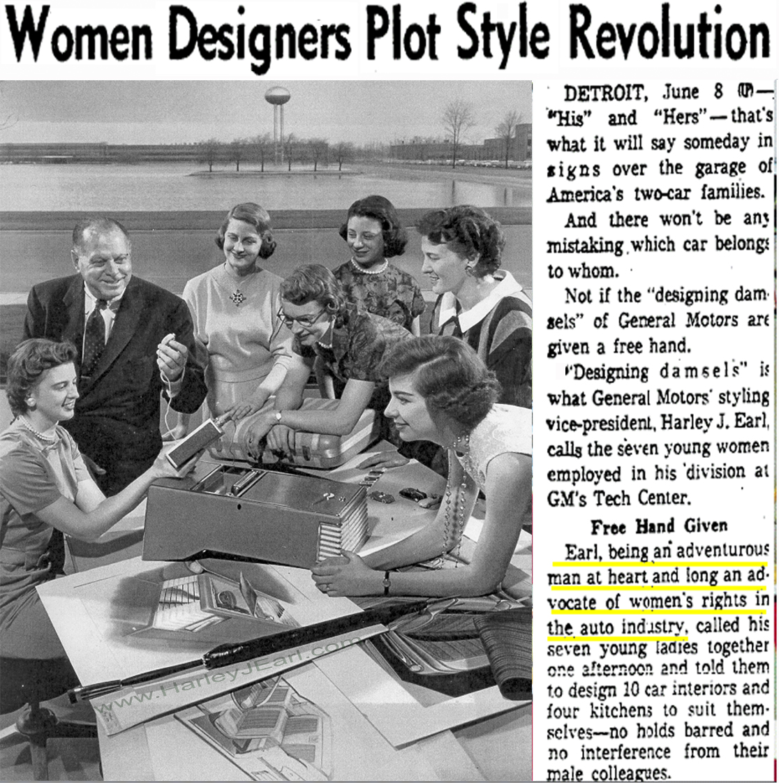 "The article's last paragraph above demonstrates how women car designers were being fast-tracked and being groomed to become ""studio heads"" at Cadillac, Buick, Oldsmobile, etc. in the not too distant future. Designer-Earl knew it was better to tackle this ""equality"" issue sooner rather than later."