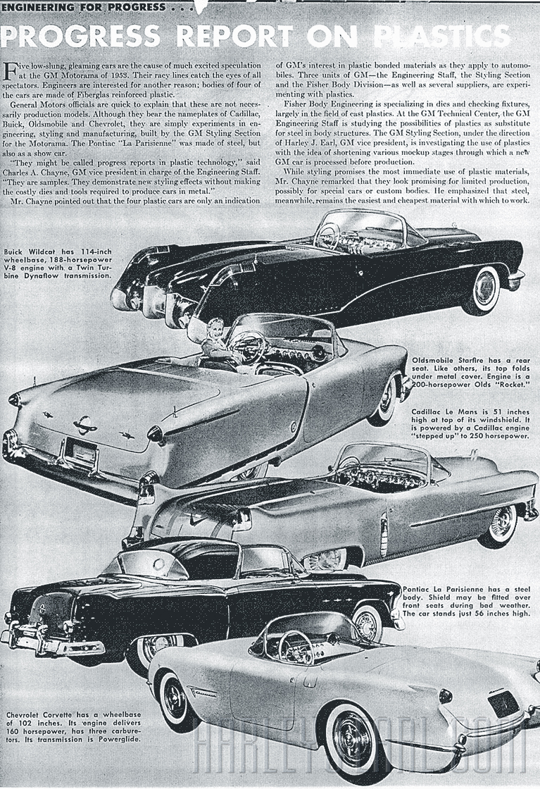 "As this article from  GM Folks  magazine (Jan., '53) affirms, the innovation of using ""Plastics"" was experimented on for the first time in HJE's hybrid-engineering facility. Like so many other aspects of this story, once you get on the right scent trail, then it's not hard to understand."
