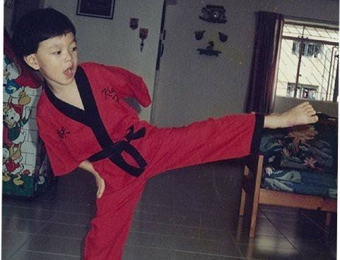Young Shamus practicing martial arts
