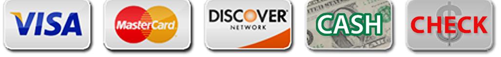 we accept visa, mastercard, discover, cash and checks