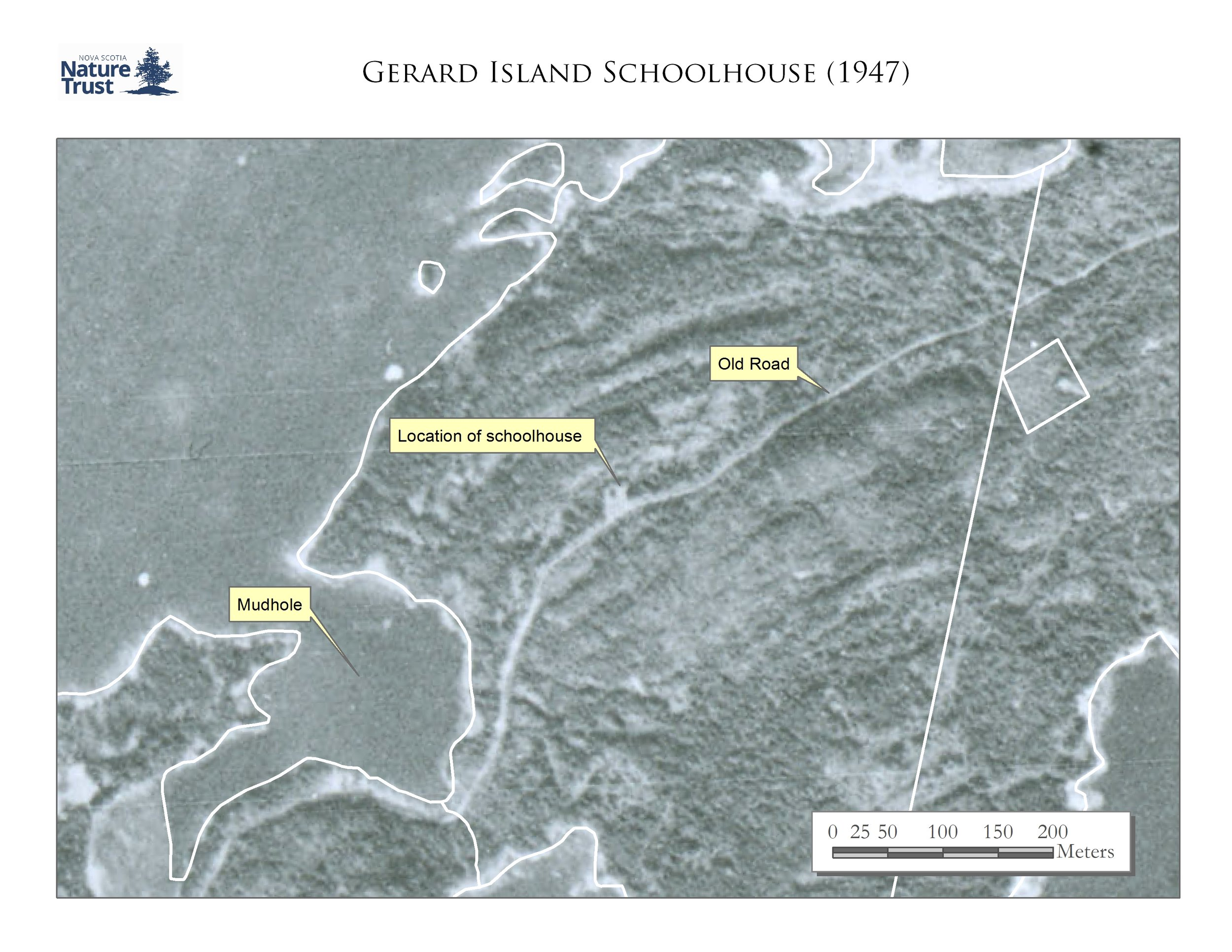 Location of Schoolhouse on Gerard Island from a 1947 aerial photo.