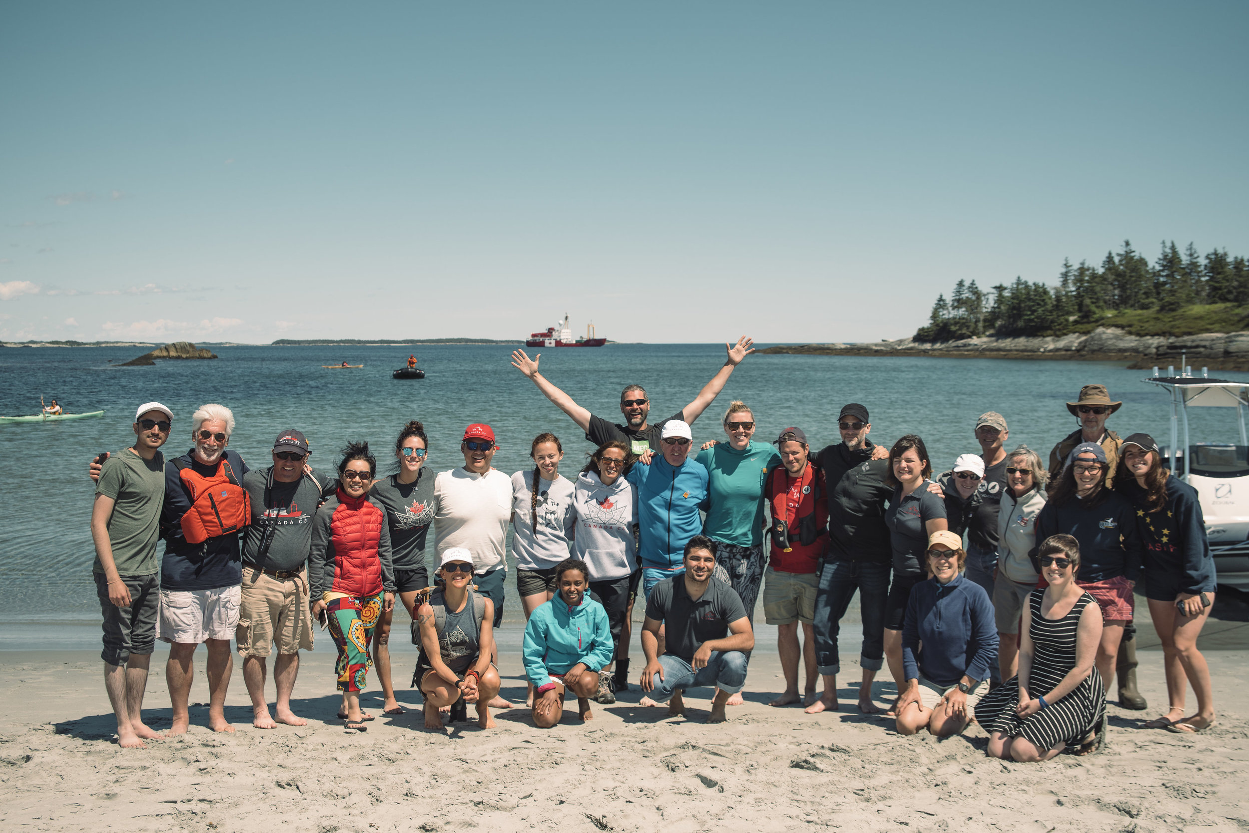 The Canada C3 Team, along with Nature Trust staff, scientists and 100 Wild Island campaign team members. Photo: Alexa Cude.