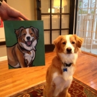 Riley with his portrait.