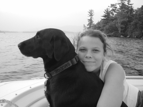 "Melissa in 2003 with her late dog ""Smudgey."""