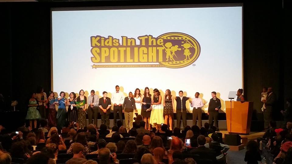 A group of KITS students standing on the stage at last year's film festival competition