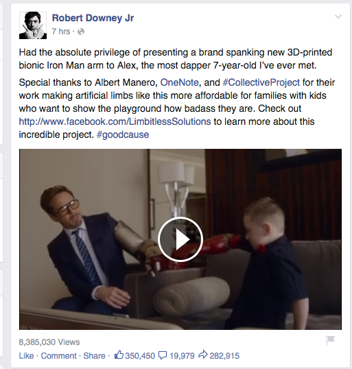 Screen shot from Facebook page of Robert Downey, Jr.