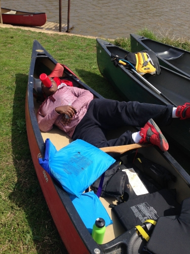 Relaxing before paddling