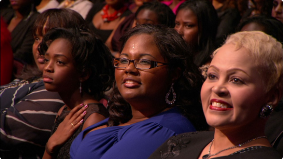 "ScholarCHIPS founder and executive Director Yasmine Arrington (center) being honored at 2012's ""Black Girls Rock"" event."