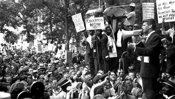 Robert F. Kennedy (then U.S. attorney general) addresses demonstrators in front of the Justice Department, June 14, 1963/Photo credit:  CBS News
