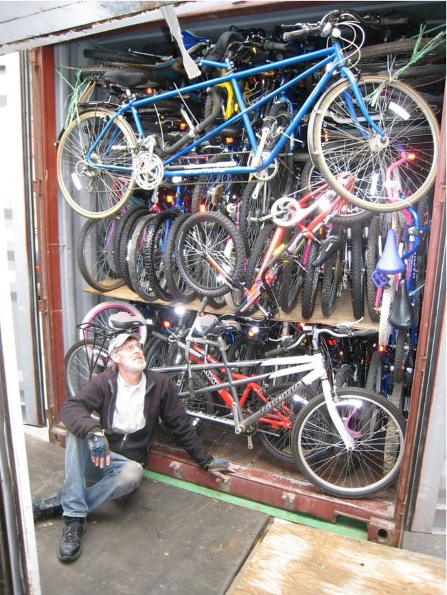 Loading a crate to ship to Costa Rica./  Photo courtesy of Bikes for the World