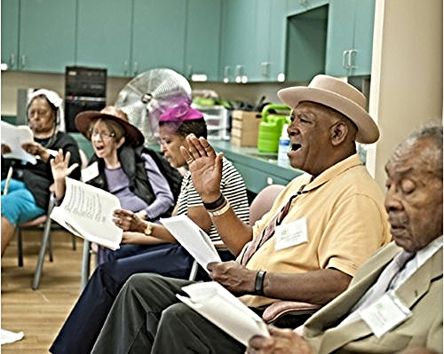 Participants act out parts during a Marvelous Musicals program at Alexandria Adult Day Services Center. (Photo Stephanie Williams)/Photo source: AFTA
