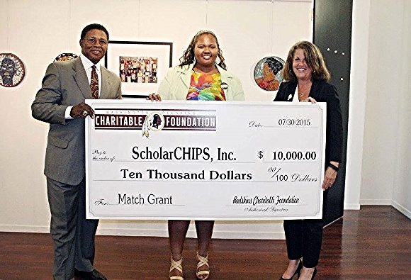 ScholarCHIPS being presented a $10,000 match grant by the Washington Redskins Charitable Foundation. Photo credit/Sidney & Company
