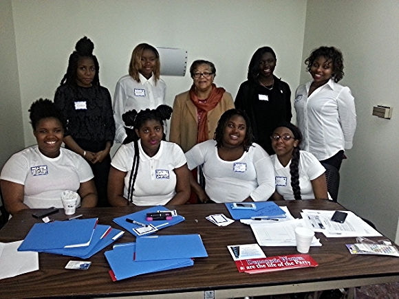 YLOT participants volunteered as ushers and hostesses at the DC Federation of Democratic Women's Legislative Empowerment Summit, where they interacted with city officials./ Photo courtesy of Young Ladies of Tomorrow.