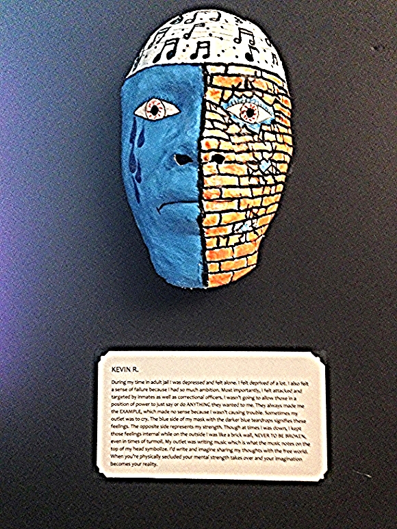 Mask created for Just Kids' Art with a Story, a project by nine young Marylanders who were charged as adults and incarcerated before the age of 18/Photo by Holly Leber
