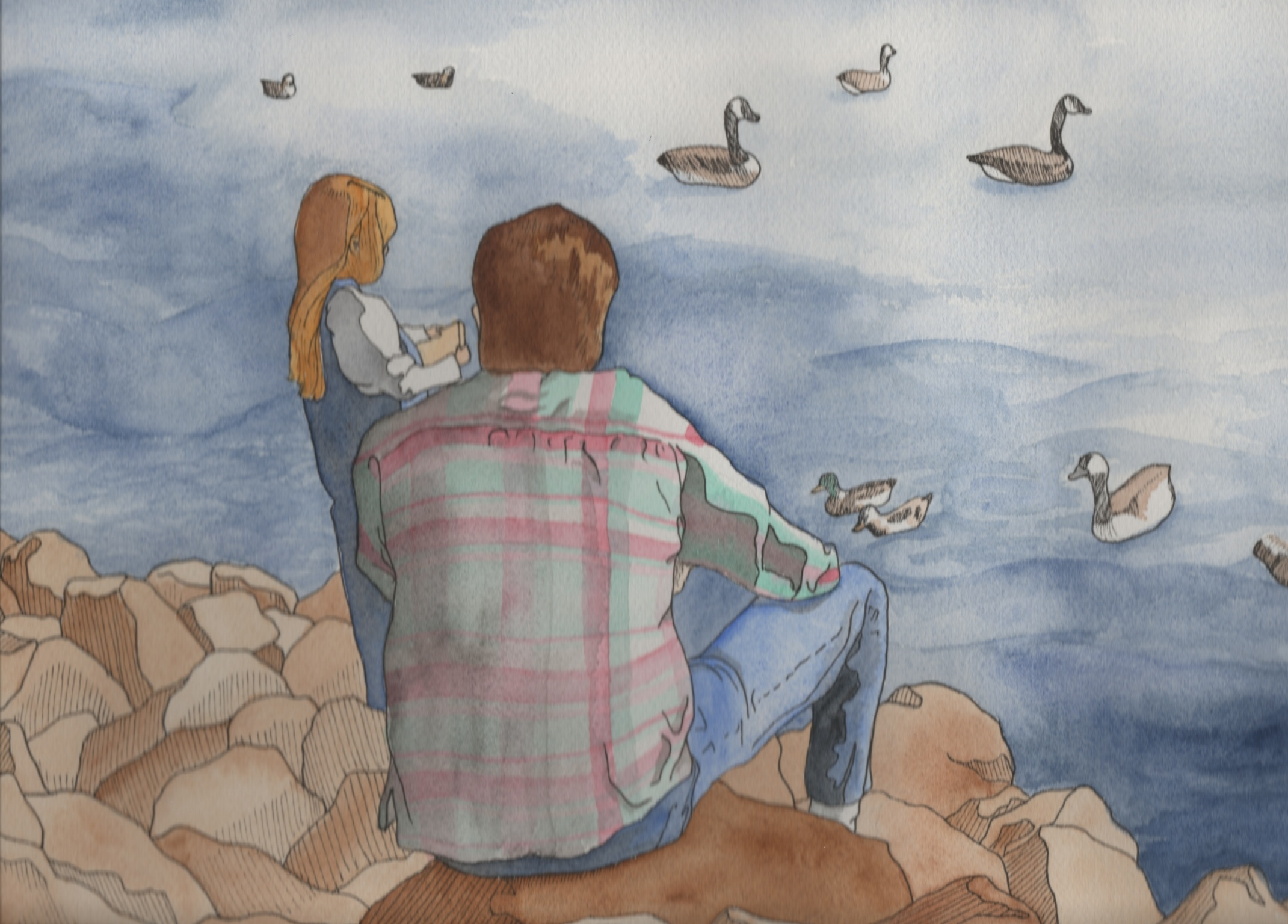 Father and Daughter    11 x 14  pen and watercolor  2014  NFS