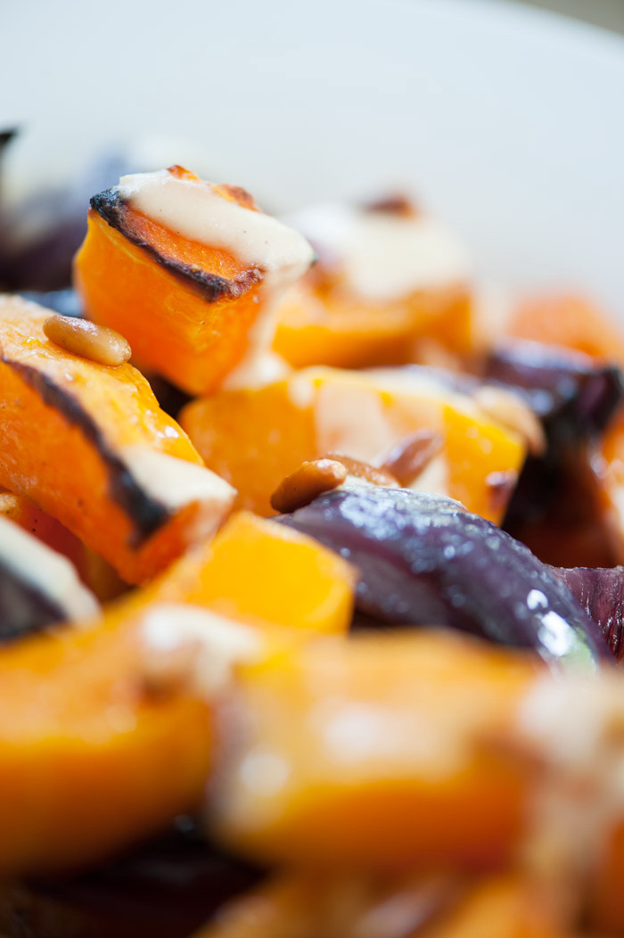 Roasted Butternut Squash and Red Onion with Tahini Dressing