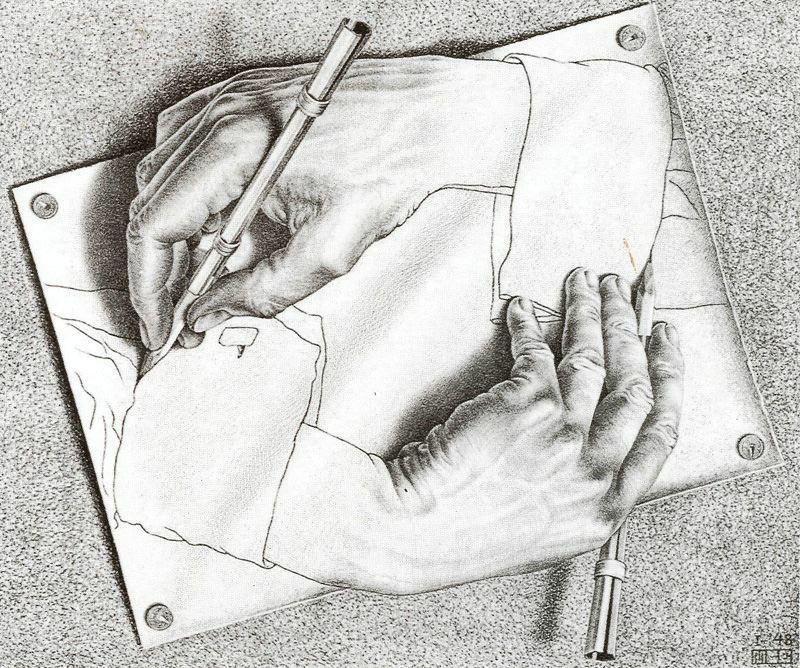 """""""Mans dibuixant"""", litografia del matemàtic  Escher  1948"""