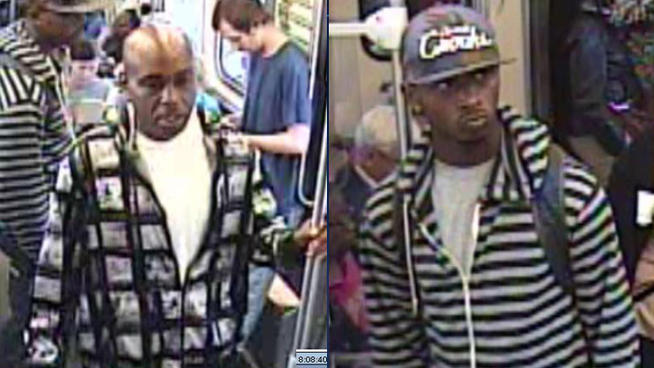 Photos of two men accused of robbing at least four people on an orange line train.