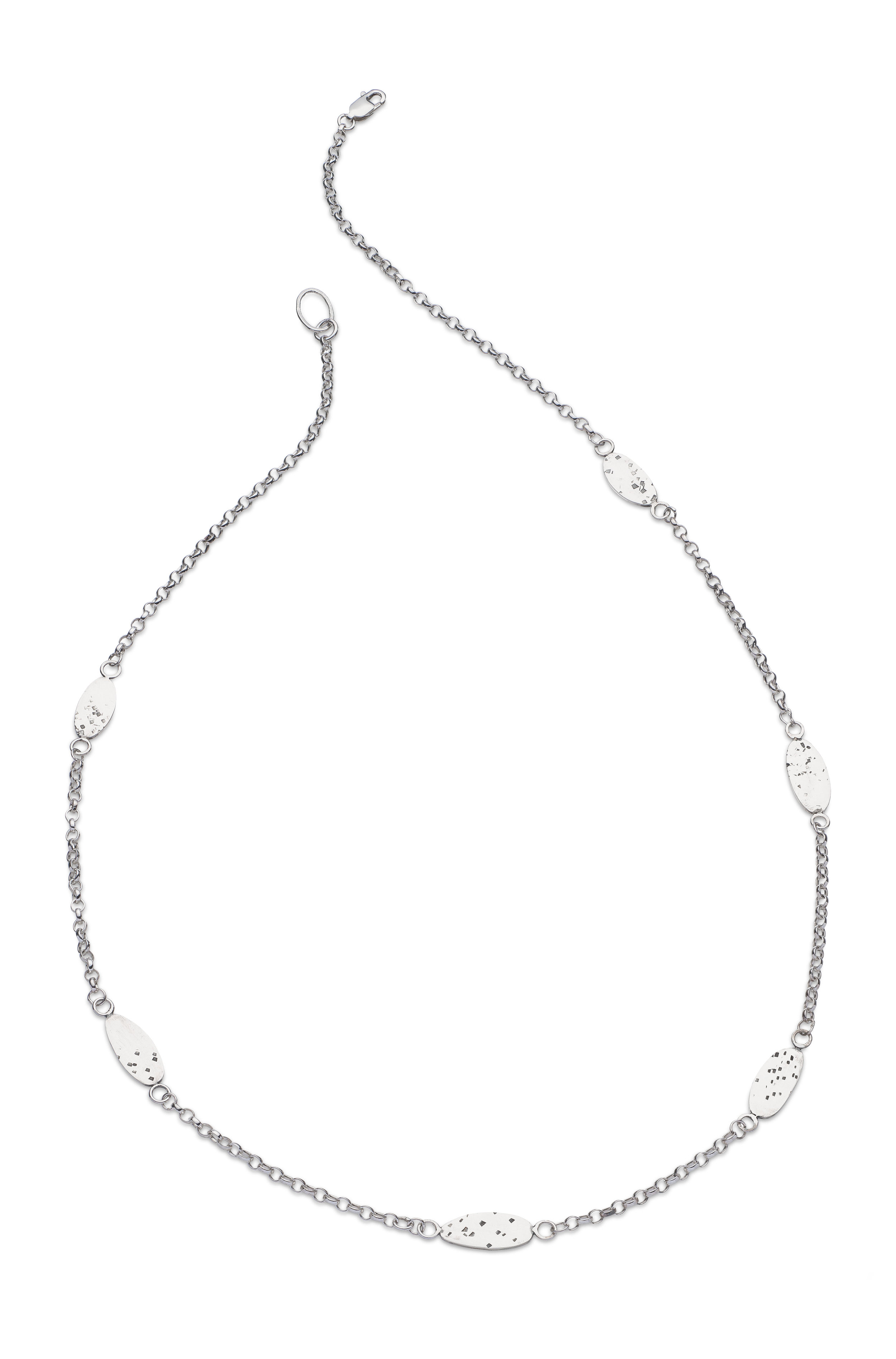 Sterling silver 20inch chain necklace with six freckled ovals. from£170