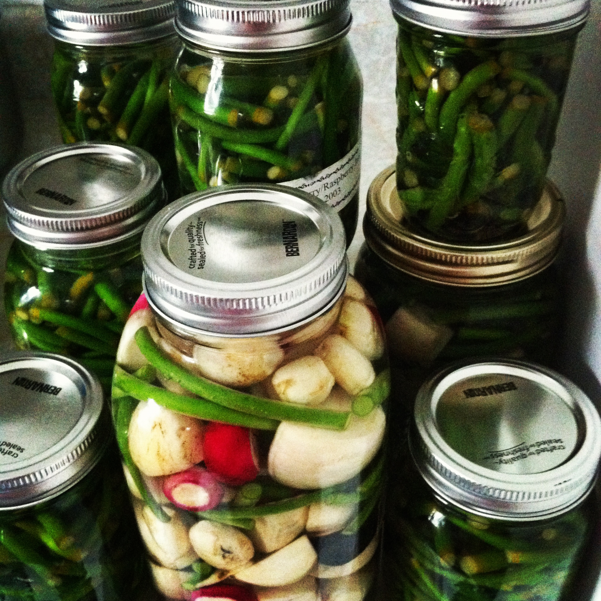 Pickling our produce.