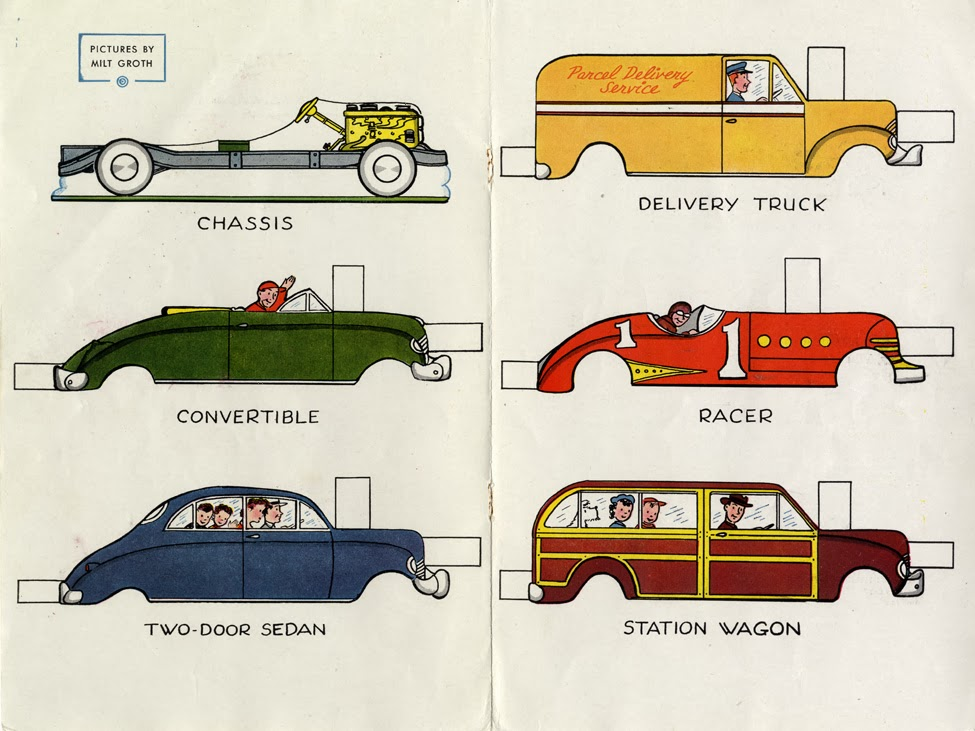 """Milt Groth,  Automobile Paper Dolls , center """"Playtime"""" spread, Jack and Jill Magazine, circa 1950. Usually the center spread was a paper doll activity which appealed to girls. They tried this as a sop to the boys, and probably as an office joke, too."""