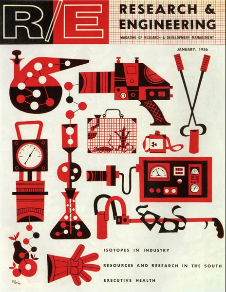 For starters: a set of scientific instruments, translated into engaging form using a slightly abstract sensibility and a two-color palette. Jim Flora, cover illustration,  Research and Engineering , January 1956.