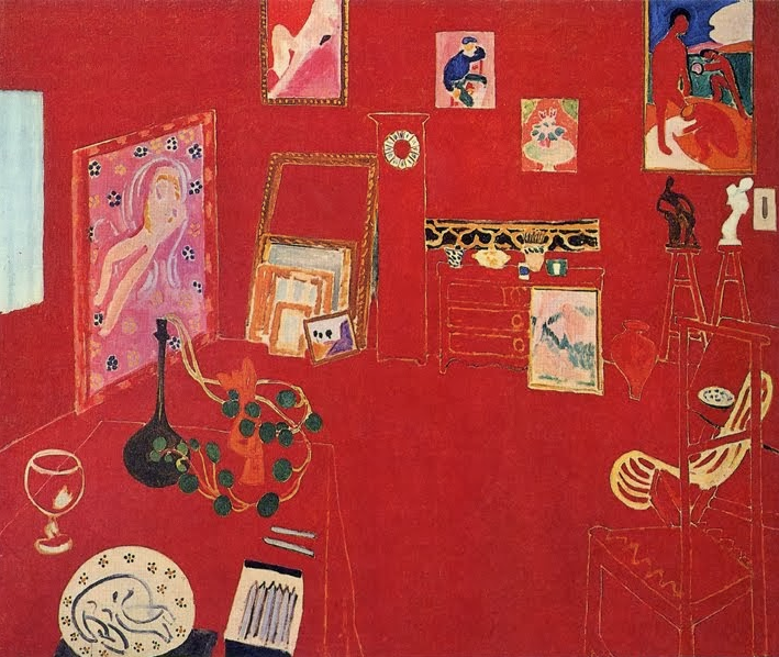 Henri Matisse,  The Red Studio , 1911. Matisse flattens with color, erasing depth from a putatively descriptive picture: the  Red Studio . Militant two-dimensionality.