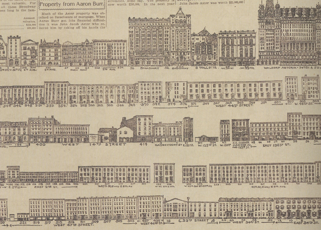 Google Street View before the fact. Illustrator uncredited, a fragment of a broadsheet-sized rendering of the Astor family real estate empire, published on January 1, 1899 by the  New York World .
