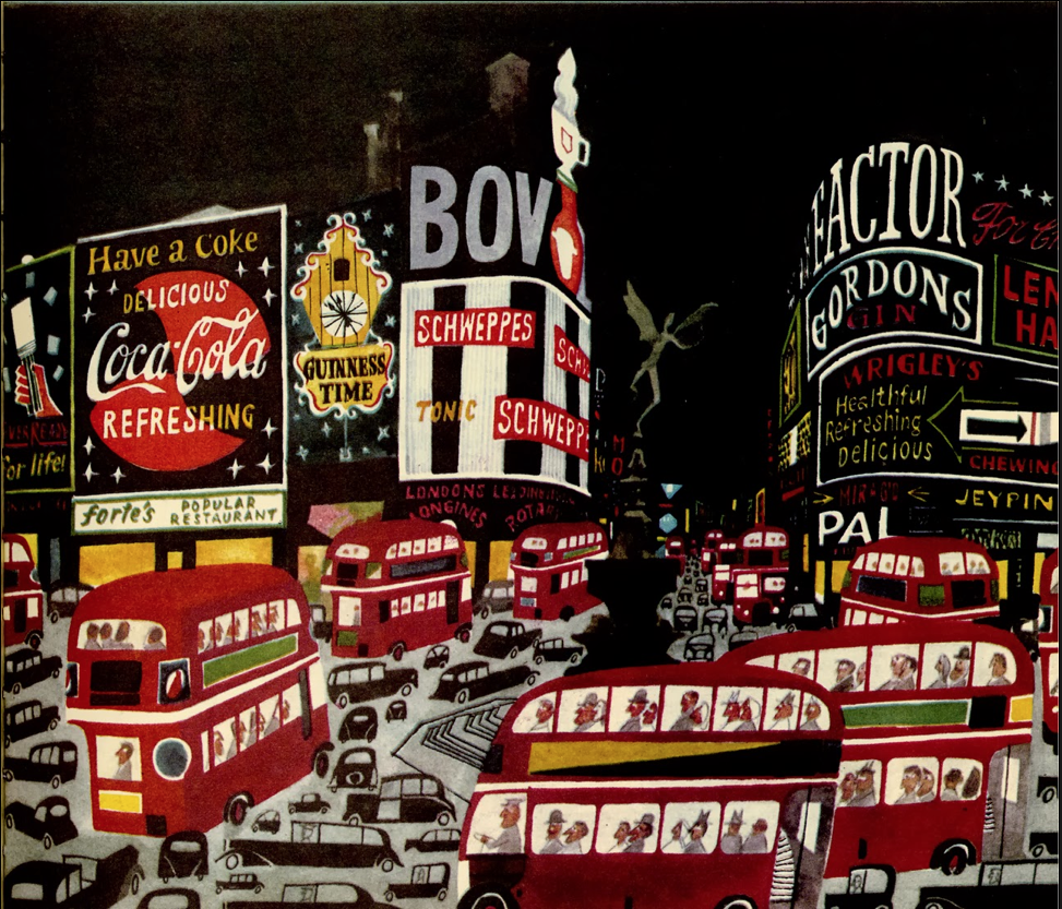 Things overlap on another in a landscape view. But look at the treatment of the smaller vehicles in between the double-decker buses. A strong sense of space, yet, but items are enumerated. Miroslav Sasek,  Picadilly Square , in  This is London , 1960. A fabulous set of books, reissued in this century.