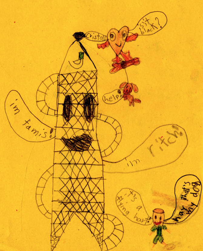 Francesca Ryan, Untitled (Megalomanical Obelisk with Tapeworm? Powerline Vaudeville?). 2013. This may not be intelligible, but who can gainsay its urgency? By Francesca Ryan. Children are ferocious intenders. I love this thing. (I pumped the contrast on the pencil, producing that somewhat over-the-top yellow. Not Francesca's fault. Bad art direction!)
