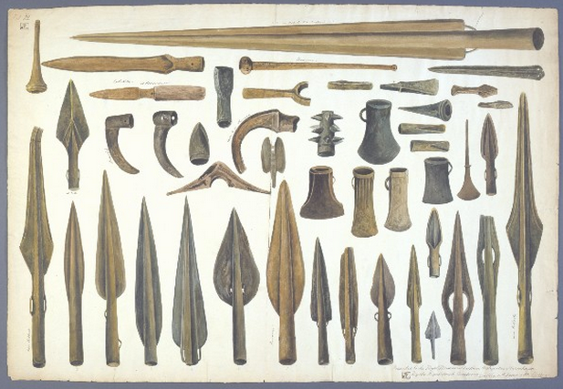 An index of weaponry.  Spearheads . A Scandinavian expert memorably named  Worsaae  catalogued Viking artifacts in the British Isles in 1846-47. This is one of 12 watercolors (No. 3, to be precise) to appear in  An Account of the Danes and Norwegians in England, Scotland, and Ireland in 1851-52.