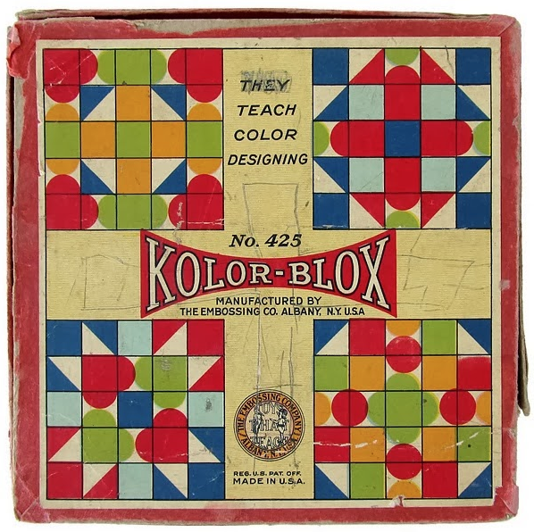 More arrangement of zones, in this case on a purely decorative basis.  Kolor-Blox  game board, circa 1935.