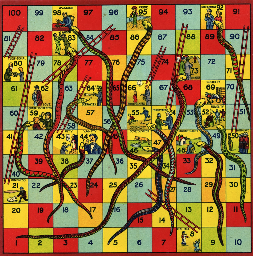 Gameboards are relevant . Snakes and Ladders , forerunner of MB's  Chutes and Ladders . N.D.  Snakes  is creepier, but way cooler, too.
