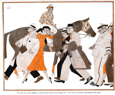 Harry Beckhoff,  We went over to the paddock, a mob of Irene's picture fans tagging her.  Two-color illustration forCollier's Weekly, January 23, 1937