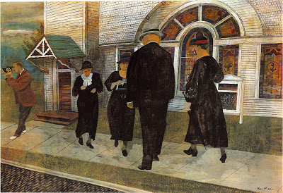 Ben Shahn smiles at himself and dour  Protestants in Self Portrait Among Churchgoers,  1939 .