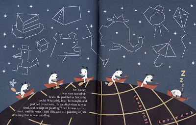 Seibold, Mr. Lunch paddles over the top of the world, watched over by constellations, in Mr. Lunch Borrows a Canoe .