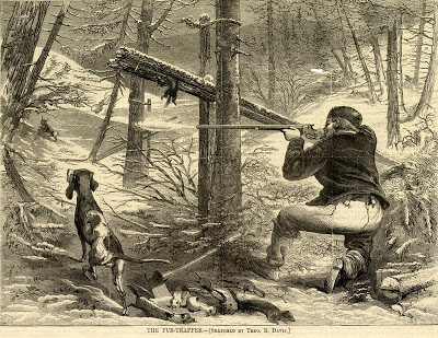 Theodore Davis, The Fur-Trapper , wood engraving,Harpers Weekly, [date]