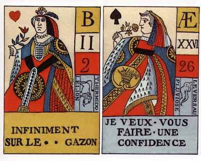 Revolutionary Era Question and Answer Cards , French, reproduced in  Antique Playing Cards;   A Pictorial Treasury  , by Henry Rene D'Allemange, first published in 1906 and reissued by Dover in 1996