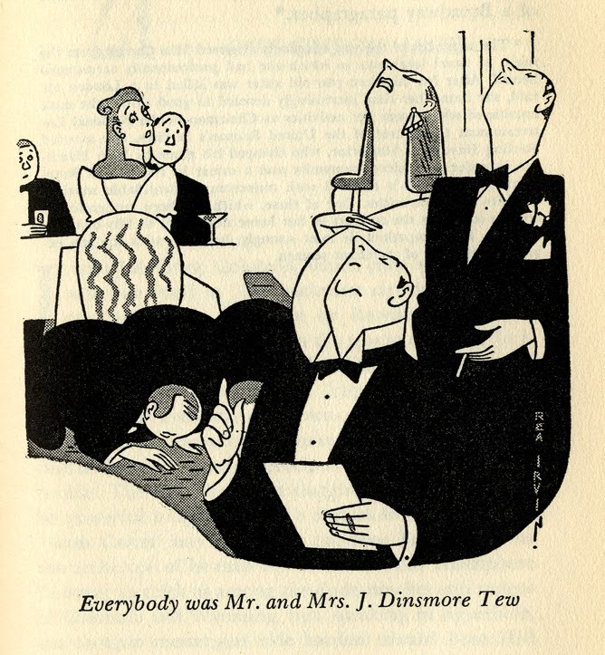 Rea Irvin,  Everybody was Mr. and Mrs. J. Dinsmore Tew,  illustration for  Snoot if you Must , by Lucius Beebe. 1943.