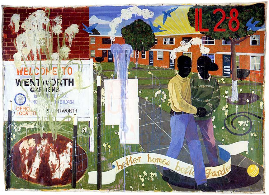 Kerry James Marshall,Better Homes, Better Gardens, 1994 [note the art historical reference to Expulsion from the Garden scenes in the placement and orientation of the figures]