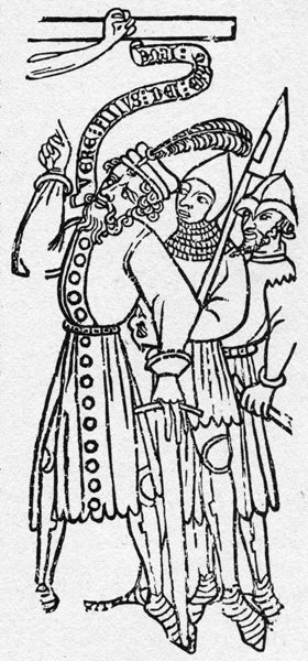 Le Bois Protat, the earliest extant European woodcut block known, dated to 1380; a historically signficant item, but also, a perfectly good example of one-color line art, just like the next example