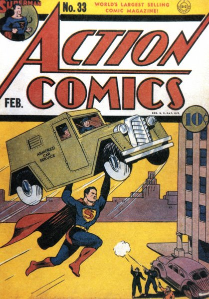 Joe Shuster, cover, Action Comics #33, February 1939