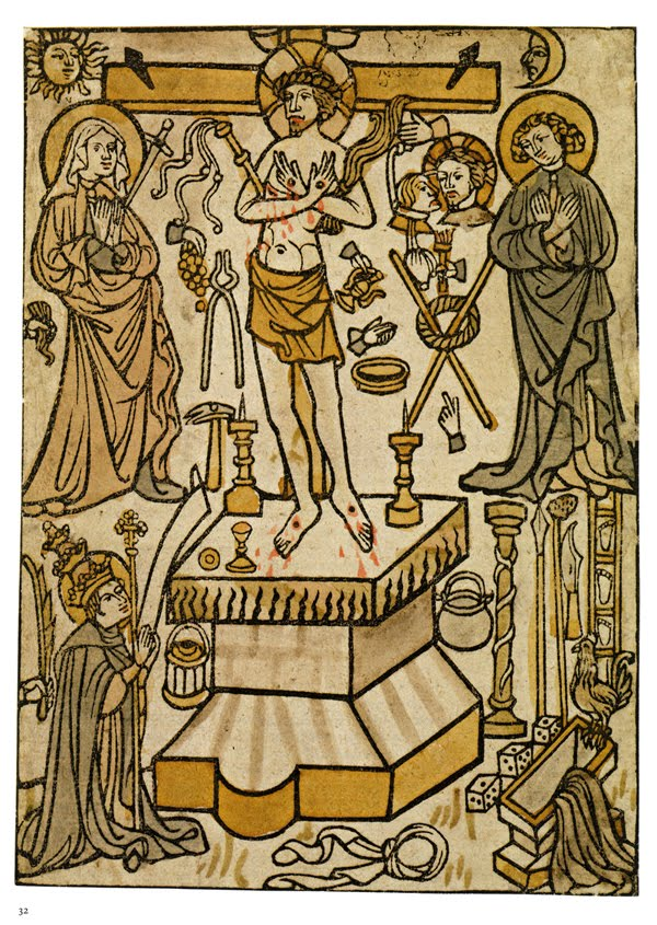 Mass of St. Gregory , hand-colored woodcut; South German, 1420-1430
