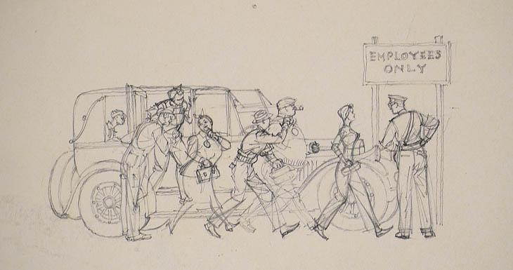 Harry Beckhoff, Thumbnail Sketch, magazine illustration circa 1940