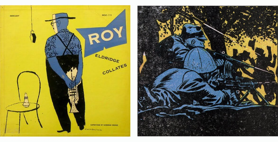 Caniff, Terry, single panel from Sunday strip published on September 10, 1944  David Stone Martin,  Roy Eldridge Collates , album cover illustration, Mercury/Clef Records, 1952