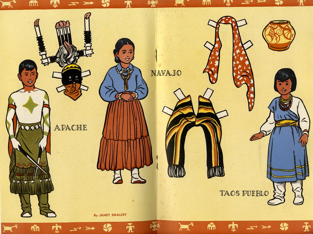 Janet Smalley, Southwest American Indian paper dolls, Jack and Jill Magazine, August 1950