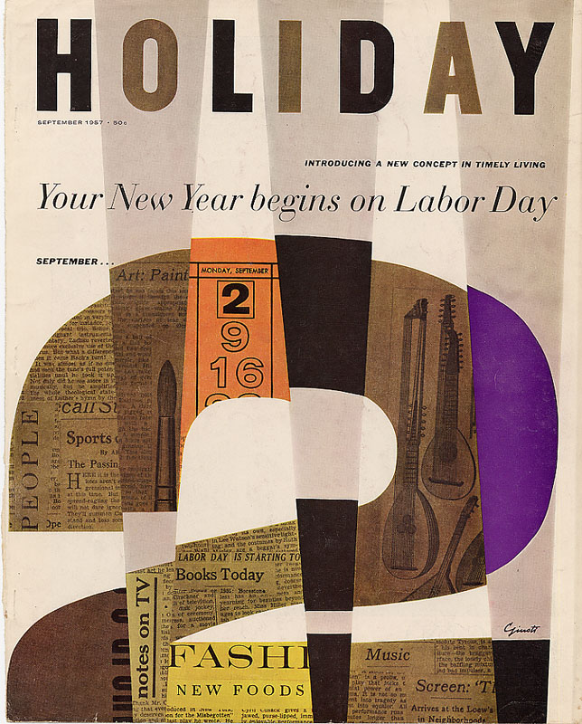George Giusti, cover design for  Holiday  Magazine, 1957