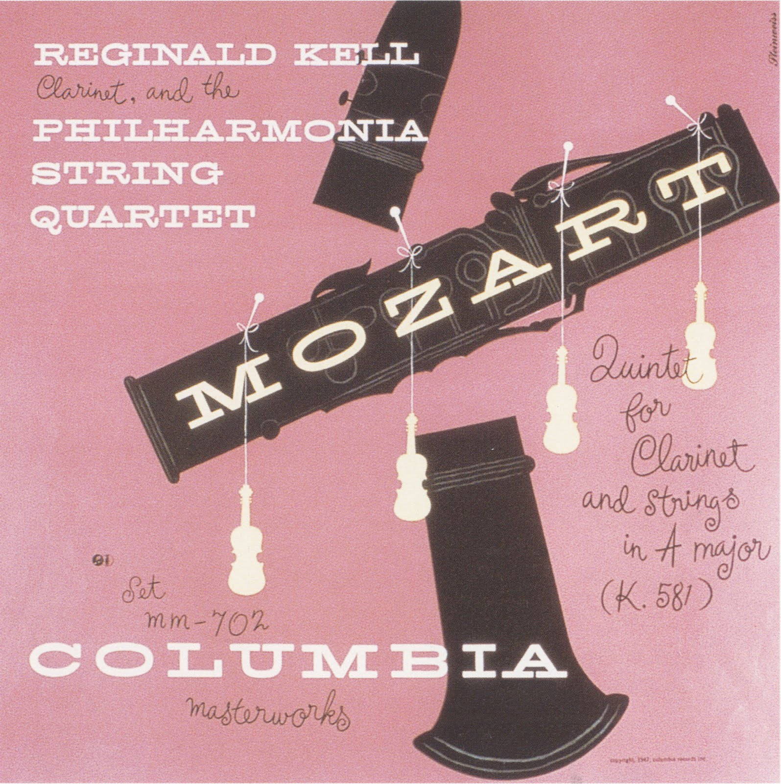 Alex Steinweiss,  Mozart: Quintet for Clarinet and Strings in A Majo r, record jacket design, Columbia Records, 1947