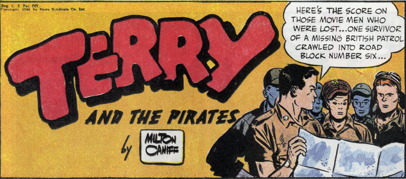 finally, Milton Caniff, wordmark for  Terry and the Pirates , 1944 (that is, this particular strip is 1944; an Art Deco-ish version of the mark appeared in 1934, when the strip debuted).